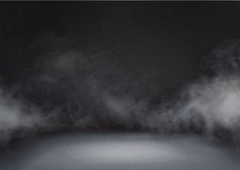 Gray cloud and smoke in the dark room. Mist effect stage. Transparent fog on black background abstract realistic decoration