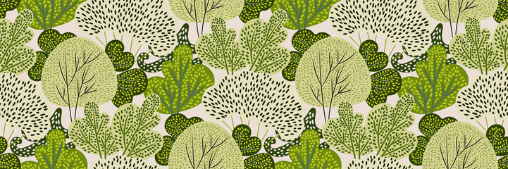 Seamless pattern with green trees in a hand-drawn style on a white background. Creative print with spring / summer forest. Stylized Botanical texture, backdrop. Vector illustration.