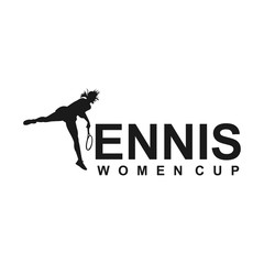 tennis player stylized vector silhouette, logo design