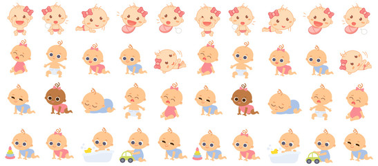 Set of babies cartoon characters. Baby girls and boys with different emotions