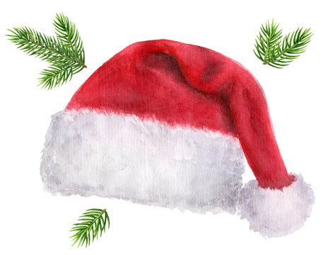 Christmas Santa Claus red hat. Watercolor hand drawn illustration