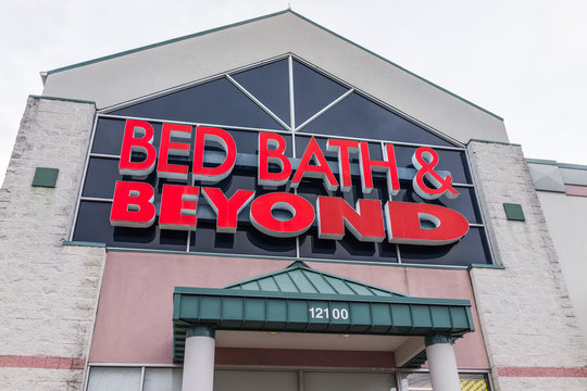 Fairfax, USA - January 27, 2017: Bed Bath and Beyond store facade in red