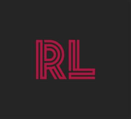 Initial two letter red line shape logo on black vector RL