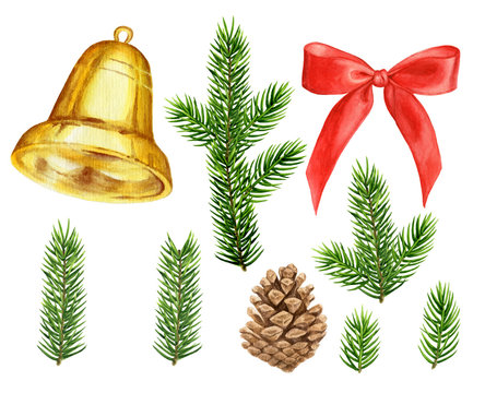 Set of watercolor illustrations: fir tree branches, golden bell, red bow, pine cone. Xmas or New Year decoration for cards, logo, banners