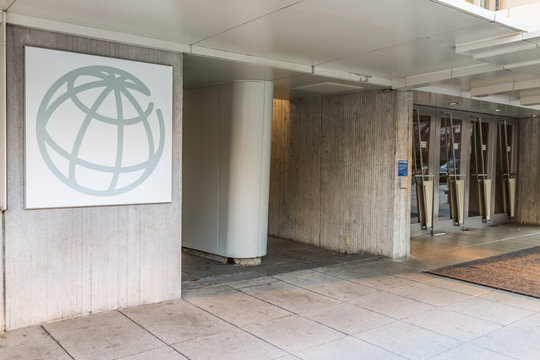 Washington DC, USA - March 4, 2017: World Bank Group logo with entrance to building