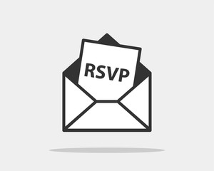 RSVP icon vector. Please respond letter in envelop. Answer on mail concept.