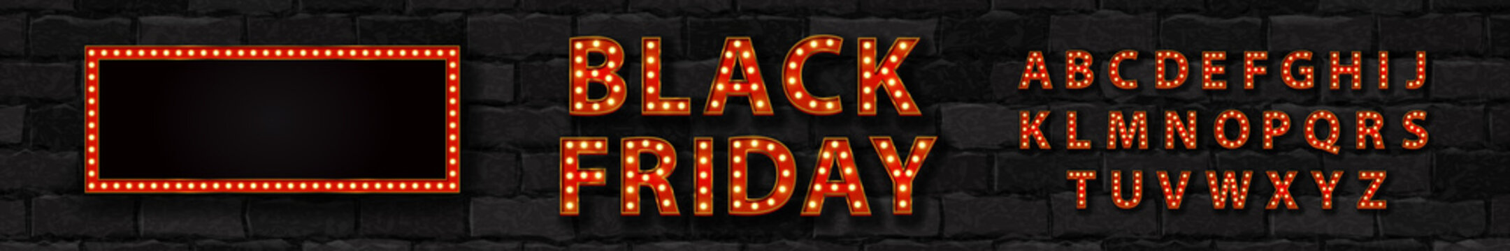 Vector realistic isolated marquee sign of Black Friday logo with broadway frame and light bulb font for template decoration and covering on the wall background.