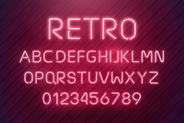 Light neon font letter set. Bar sign vector type. Glowing casino and cinema red text alphabet on wood planks wall. Retro background.