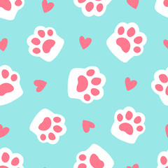 Paw seamless pattern footprint and heart. cute cat paw on blue background. simple cartoon flat style vector illustration.