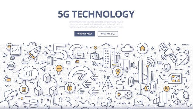 5G Technology Doodle Concept