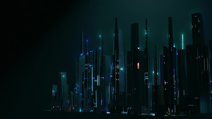 Wall Mural - 3D Rendering of abstract digital city with sky scrapping towers and glowing dots binary data in foggy ray light. Concept of big data, machine learning, artificial intelligence, virtual reality