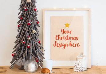 Frame Mockup on Christmas Table