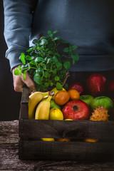 Organic fruit  on wood
