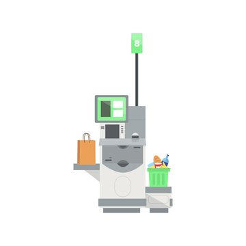 Vector model of Self Checkout Shop Cashier with а full shopping cart.Self service cash device in flat design with cash machine, monitor and scanner.Point with self-service checkout in the supermarket.