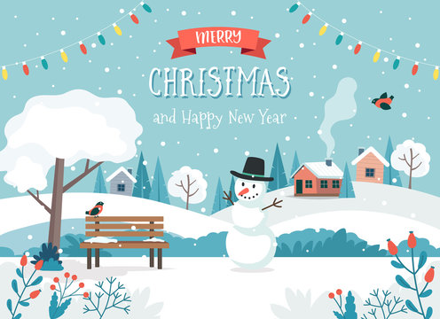 Merry christmas card with cute landscape and snowman. Cute vector illustration in flat style