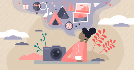 Sweet memories vector illustration. Tiny nostalgia feeling persons concept.