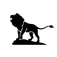 creative lion roar silhouette illustration vector on white background