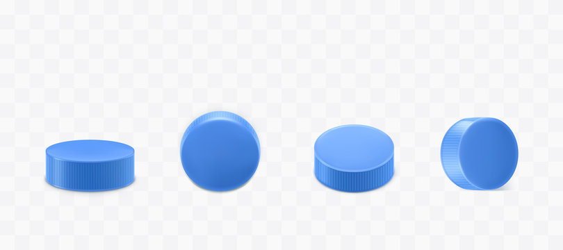 Plastic bottle caps set isolated on transparent background. Blue round corrugated lids design for mineral water or beverage flask top and side view. Realistic 3d vector illustration, icon, clip art