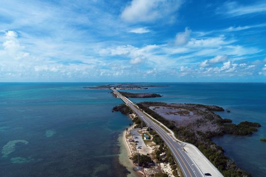 Aerial view of famous bridge in the way to Key West, Florida Keys, United States. Great landscape. Vacation travel. Travel destination. Tropical scenery. Caribbean sea.