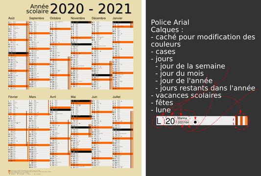 Calendrier scolaire 2020-2021, calques, vacances scolaires, Saints, 12 mois