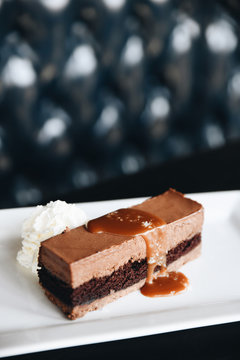 Chocolate mousse cake served on plate