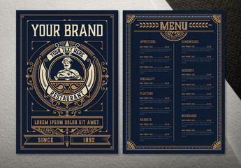 Dark Blue Restaurant Menu Layout with Ornamental Elements