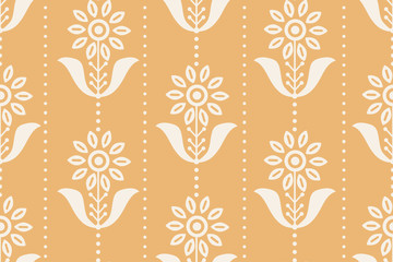seamless pattern wallpaper in the style of 70's with flowers