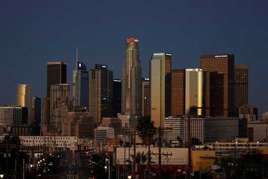 The skyline of the city's downtown is shown in Los Angeles, California