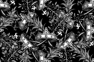 Seamless black-white pattern with crown and plants