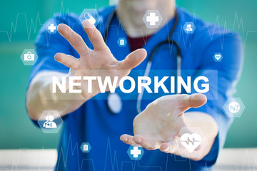 Doctor pressing button networking healthcare on virtual panel medicine