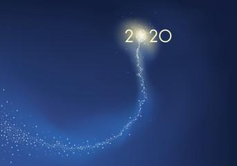 Carte de vœux présentant l'objectif 2020 sous la forme d'une comète explosant en feu d'artifice, symbole de réussite pour la nouvelle année.