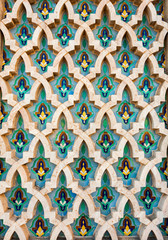 Teal and beige painted moroccan window