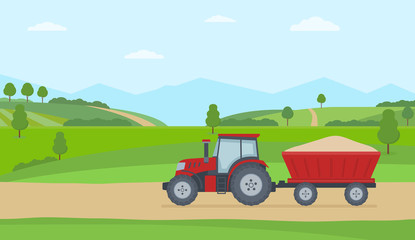 Red tractor with trailer on rural landscape background. Flat style vector illustration. Fotomurales