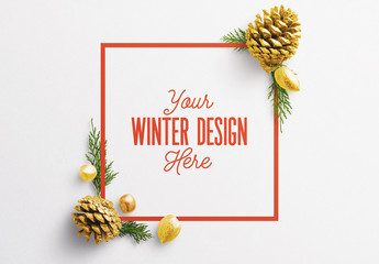 Winter Frame with Natural Elements Scene Creator Mockup
