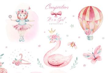 Baby shower kid swan watercolor girl design cartoon elements. Set of baby pink birthday balloon toy dress illustration. Newborn party set invitation