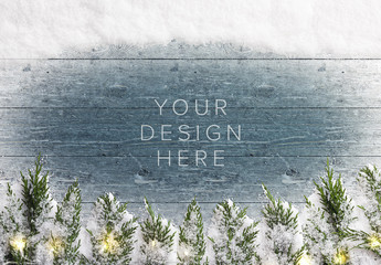 Winter Mockup Scene with Snow, Fir Tree Branches, and Lights