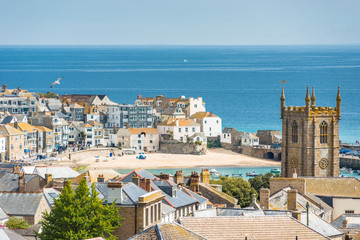 Elevated views over rooftops of St Ives in Cornwall, England, UK.