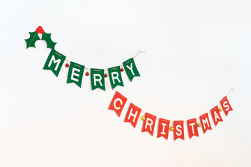 Merry Christmas and happy new year concept.Merry Christmas banner on white wall.
