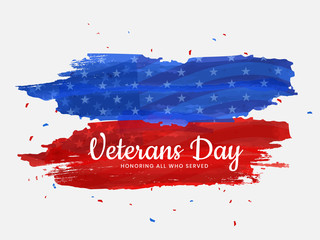 Vector illustration,poster or banner of happy veterans day with U.S.A abstract flag background.