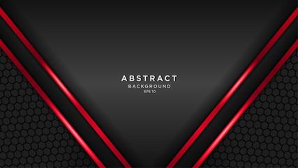 dark red technology background, modern technology wallpaper, dark black and red line, futuristic deep background, vector. Fototapete