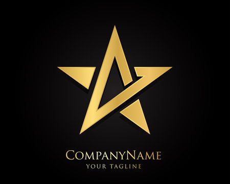 Gold Star Logo Designs Vector Template with Black Background
