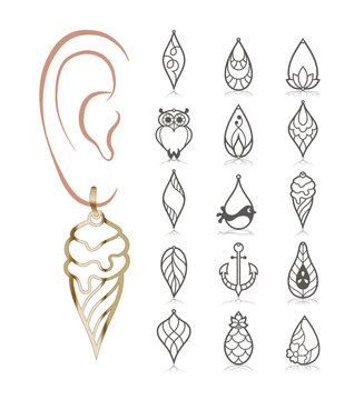15 Earring Templates. Cutout silhouettes with ice cream, pineapple, owl, anchor, lotus, daisy. Design is suitable for creating dainty & charm jewellery.