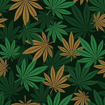 seamless pattern of cannabis . Fabric  Hemp plant background