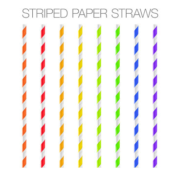 Colorful striped paper straws. Vector illustration isolated on white background. Ready to use in your design. EPS10.
