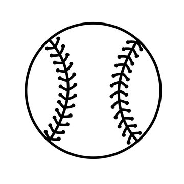 Baseball ball clipart. Sports design stock file. Sport ball outline drawing. Isolated on transparent background.