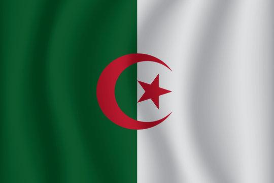 Algeria flag background with cloth texture. Algeria Flag vector illustration eps10.