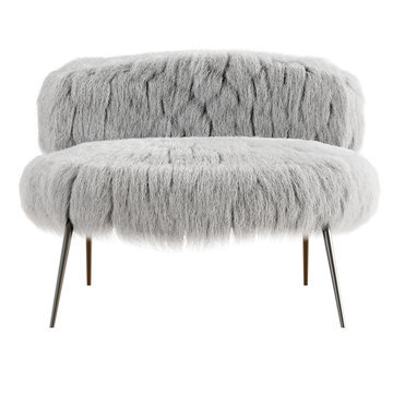 White fluffy chair made of wool front view on an isolated background front view. 3D rendering