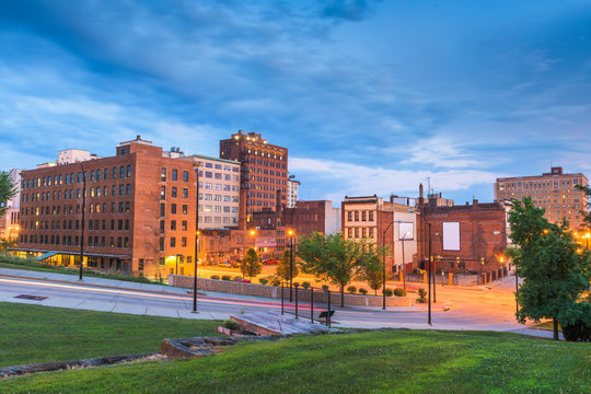 Youngstown, Ohio, USA Downtown at Twilight