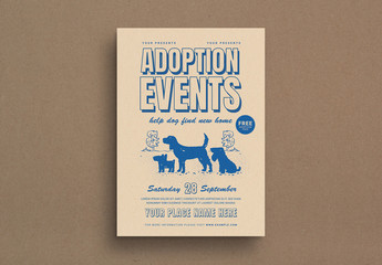Retro Style Dog Adoption Event Flyer Layout
