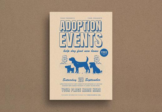 Retro Style Dog Adoption Event Flyer Layout